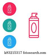 Red line Shaving gel foam icon isolated on white background. Shaving cream. Set icons in circle buttons. Vector Illustration