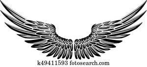 adler, vogel, oder, engelsflügel