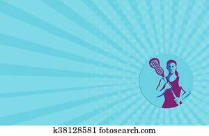 Business card Female Lacrosse Player Stick Circle Retro