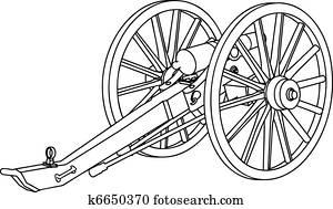 Civil War Cannon Drawing