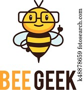 Geek bee mascot logo.