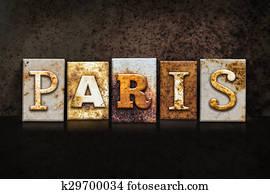Paris Letterpress Concept on Dark Background