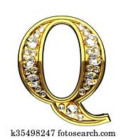 q isolated golden letters with diamonds on white