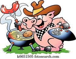 schwein, sitzen, und, machen, grillspass