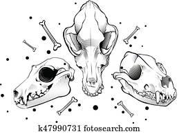 vektor, hund, skull., stich, stil