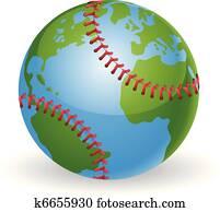 welt globus, baseball ball, begriff
