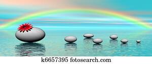 Zen stones and rainbow