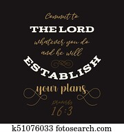 Bible quote from proverbs, god establish your plans, typography for print on t shirt or use as poster