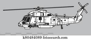 Kaman SH-2G Super Seasprite. Outline vector drawing