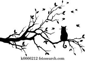 katz, auf, a, baum, mit, birds,, vektor