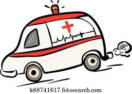 krankenwagen, auto, in, binse, abbildung, farbe, vektor, wei?, hintergrund