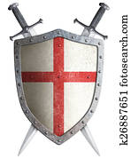 old medieval crusader shield and two crossed swords isolated