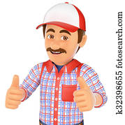 3D Handyman with two thumbs up