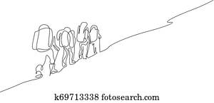 Continuous one line drawing group of four people hiking