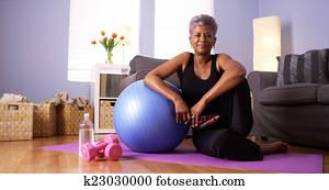 Happy healthy black grandma
