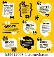 vector quote decoration labels set 4