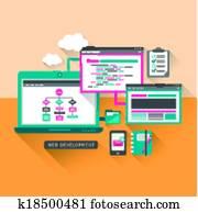 flache, design, begriff, von, webentwicklung