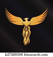 Golden Phoenix Bird logo