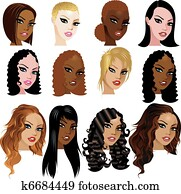 Mixed Biracial Women Faces
