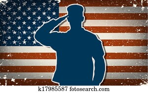 US Army soldier saluting vector