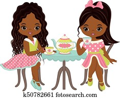 Vector Cute Little African American Girls Having Tea