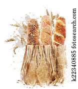 Watercolor Image Of Bread Loaves
