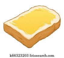 aufgeschnitten, toast, Bread, hand, gezeichnet, abbildung