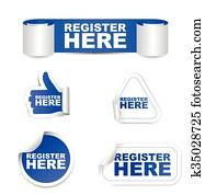 blue set vector paper stickers register here