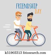 Freunde Tag Illustration Zwei Freunde Sitzen Auf Sandstrand