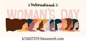 internationale, womens, day., vektor, abbildung, mit, frauen, verschieden, nationalit?ten, und, cultures.