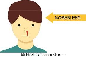 Isolated Nosebleed on man in Vector cartoon design
