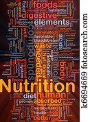 Nutrition health background concept glowing