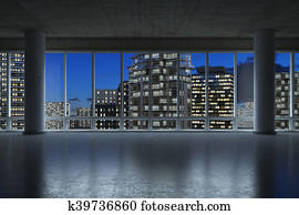 3d - empty conference room - night