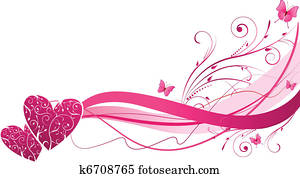 Floral wave with hearts
