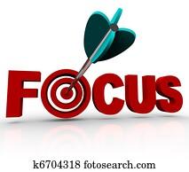 Focus Word with Arrow Hitting Target Bulls-Eye
