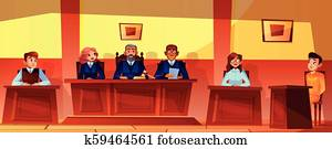 Judges at court hearing vector illustration