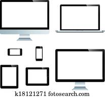 laptop, smartphone, tablet, computer, display isolated on white background