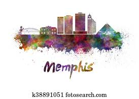 Memphis skyline in watercolor