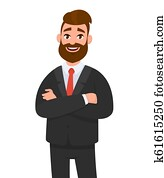Portrait of smiling confident businessman in black formal wear with arms crossed isolated in white background. Emotion and body language concept in cartoon style vector illustration.