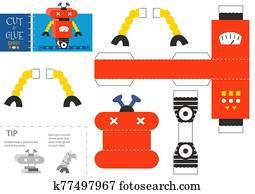 schneiden, und, klebstoff, roboter, spielzeug, vektor, illustration., papier, handwerk, und, diy, erzieherisch, arbeitsblatt
