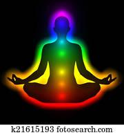 Silhouette of woman in meditation, energy body, aura, chakras