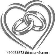 wedding ring in heart