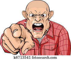 Angry man with shaved head shouting and pointing