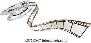 filmfilm, spooling, heraus, von, spule super 8