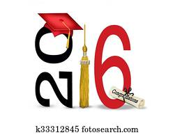 red 2016 graduation cap and tassel
