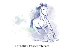 watercolor running horse