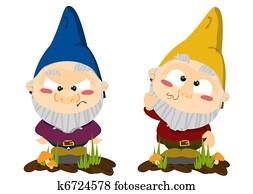 Cute cartoon lawn gnomes