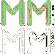 leicht, alphabet, labyrinth, -, buchstabe m