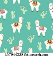 Llama Alpaca and cactus seamless pattern