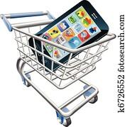 Smart phone shopping cart concept